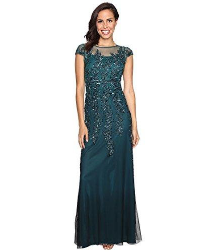 Adrianna Papell Women's Cap Sleeve Illusion Beaded Dress, Hunter, 8 (Apparel)