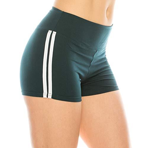 ALWAYS Pantalones cortos de yoga para mujer, de 7,6 cm, de alta calidad, con control de barriga, elásticos, sólidos, con bolsillos, Sho132 / Darkteal White, XS