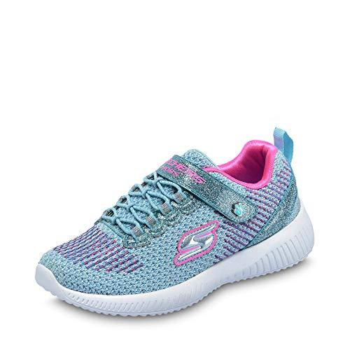 Skechers 85681L Mädchen Sneaker aus glitzerndem Strick herausnehmbare Innensohl, Groesse 36, hellblau/pink