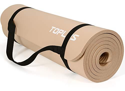 TOPLUS Verdickte Gymnastikmatte Phthalatfreie Yogamatte rutschfest und gelenkschonend Sportmatte für Yoga Pilates Sport mit praktischem Trageband Pilatesmatte 183 * 61 * 1 cm,Dunkelbeige