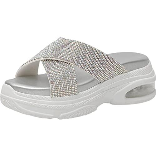 Zapatillas de Verano para Mujer Plataforma Femenina 7 Cm Sandalias De Cuña Cortinas Sandalias Sandalias De Verano Rhinestone Slippers Slippers con Nonslip Vacuum Pad Sole(Size:40 EU,Color:Blanco)