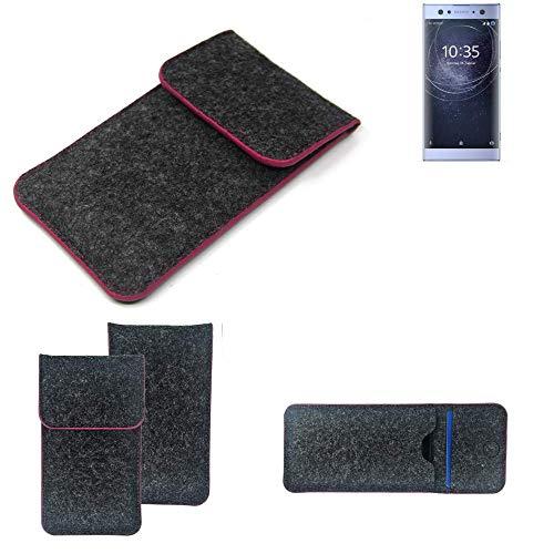 K-S-Trade Filz Schutz Hülle Für Sony Xperia XA2 Ultra Dual-SIM Schutzhülle Filztasche Pouch Tasche Hülle Sleeve Handyhülle Filzhülle Dunkelgrau Rosa Rand