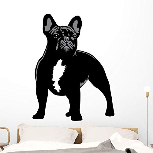 Wallmonkeys French Bulldog Alert Wall Decal Peel and Stick Animal Graphics (48 in H x 37 in W) WM187532
