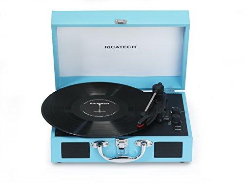 Ricatech RTT21 Plattenspieler, leichter tragbar Schallplattenspieler mit Lautspsprechern, drei Geschwindigkeiten, unterstützt RCA-Ausgabe, Bluetooth, Kopfhörerbuchse, MP3 abspielen (Türkis)