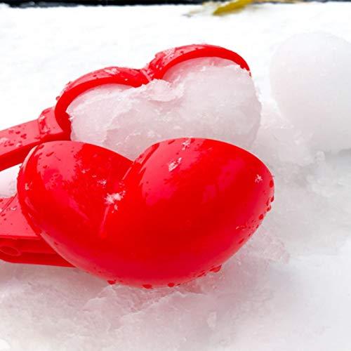 Runsmooth 1 Pieza Bola de Nieve en Forma de corazón, Juguetes para Hacer Bolas de Nieve, Cuchara, Lanzador, Lanzador, Cuchara para Bolas de Nieve, Rojo