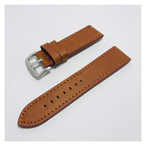 Correa Reloj,Watch Straps 18 mm 20 mm 22 mm 24 mm marrón claro vintage banda de la vendimia correa de la correa de cuero de la PU de la banda de reloj de acero inoxidable de la banda de acero inoxidab