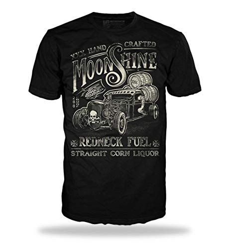 Trillest Gear Hot Rod Moonshine Redneck Fuel Tshirt Herren Oldtimer Rockabilly Rebel Whiskey (M)