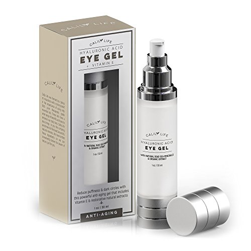 Calily Life Hyaluronic Acid Eye Gel + Vitamin E with Dead Sea Minerals, 1 Oz. - Deep Penetration Formula - Anti-Wrinkle and Anti-Aging - Minimizes Fine Lines, Puffiness and Dark Circles