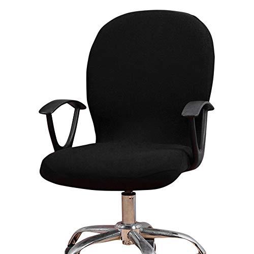 Dandelionsky Elastische Stuhlhusse für Bürostuhl mit Rückenlehne, atmungsaktiv, weich (schwarz)