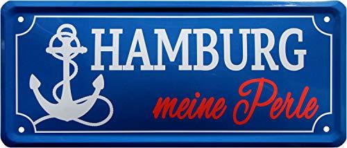 Hamburg Meine Perle Stadt 28x12 Deko Blechschild 2096
