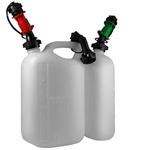 Yerd Set Hünersdorff Benzin-Kanister/Kombi-Kanister 5,5 Liter + 3 Liter Kanister für Benzin und Öl + Auto-Füllsystem (Sicherheits-Einfüllsystem Benzin+Öl)