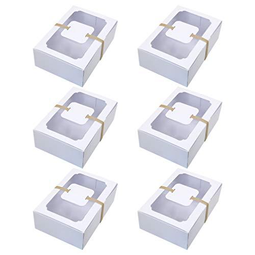 Amosfun Süßigkeiten Schachtel Gebäck Karton mit Fenster Tortenbox mit Sichtfenster Weiß Papier Plätzchen Schachtel 6pcs Dessert Kuchen Gebäck Verpackung Bäckerei Party Hochzeit Geburtstag