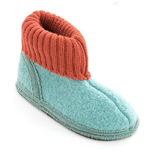 Japanwelt Bacinas hohe Kinder Hausschuhe als Plüsch Stiefel - zweifarbige warme Winter Filz-Pantoffeln aus Schafwolle mit Rutschfester Sohle