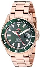 Water resistant up to 20 ATM - 200 meters - 660 feet Scratch resistant mineral Automatic movement Green dial