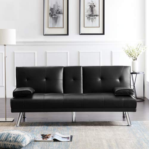Convertible Folding Futon Sofa Bed with Two Cupholder, Removable Armrests Suitable for All Kind of Indoor Uses Faux Leather