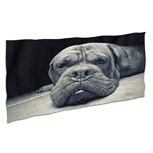 NANITHG Toalla de Playa de Microfibra,Fotografía artística monocromática,Perro Negro tirado en el Suelo,Deportes Toalla Secado Rápido,Manta de Grande y Liviana de Viaje para Gimnasio 37x74in