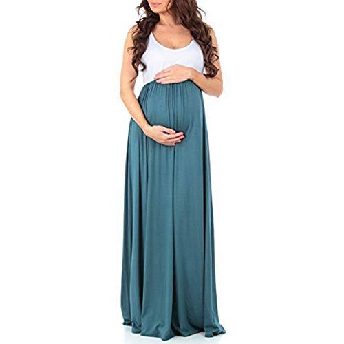 Huixin Damen Umstandskleid Umstandsmoden Schwangerschaftskleider Maternity Brautkleid Kleid Elegante Jerseykleid Sommerkleid Ärmellos (Color : Grün, Size : M)