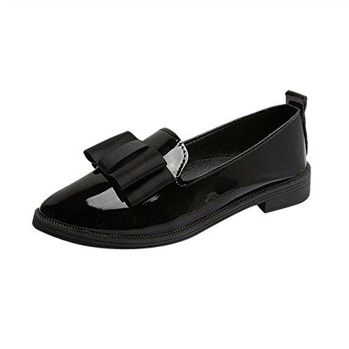 ❉Ballerines Femmes Sandales Plates Chaussures Bateau Chaussures De Plage Tongs Plates Chausson Pantoufles Mules Escarpins Chaussures Oxford Bout Pointu à Glissière GongzhuMM (CN39, Sexy Noir)