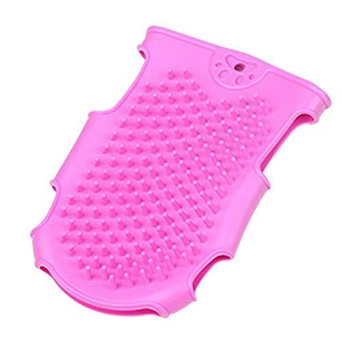 YUNGYE Haarentfernung Massage Badebürste Weiche Katzenhandschuhe Reinigungsmittel Waschen Schonender Hund Haustierpflegehandschuh Silikonkämme (Color : Pink, Size