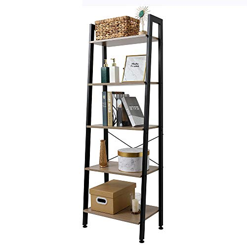 Estantería industrial de 5 niveles para escalera de ahorro de espacio, estantería, estante de almacenamiento para oficina, baño, sala de estar