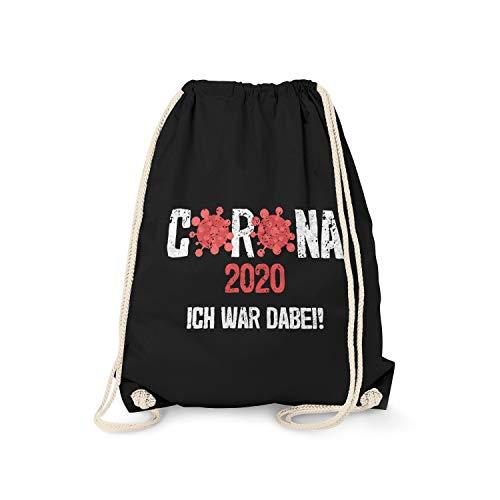 Fashionalarm Turnbeutel - Corona 2020 - Ich war dabei! | Fun Rucksack Sport-Beutel mit Spruch Hamsterkäufe 2020 COVID-19 Corona-Satire Virus, Schwarz One Size