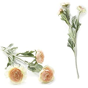 GzxLaY 50Cm 10Pcs Small Ranunculus Asiatic Artificial Flowers Home Artificial Flowers Rose Simulation Bouquet for Wedding Decoration,Milk White,Size:One Size,Color:Milk White