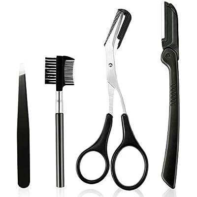 4 In 1 Stainless Steel Razor Set Set Eyebrow Scissors, Eyebrow Brush, Tweezers, Portable Eyebrow Eyebrow Trimming Tool Set for Women Men by Suroomy