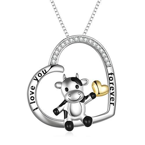 Kuh Kette Damen, 925 Sterling Silber Herz Anhänger Halskette Schmuck für Frauen Mädchen