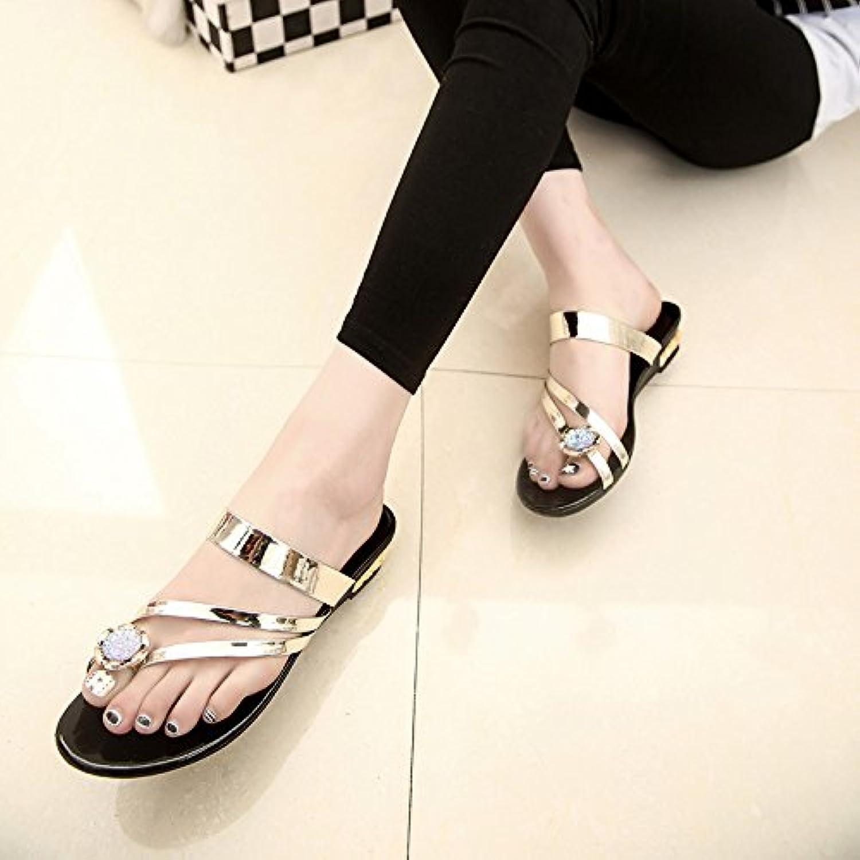 WYMBS Women's Slippers & Flip-Flops Summer Fall Comfort PU Dress Casual Flat Heel Rhinestone slippers,blonde,37