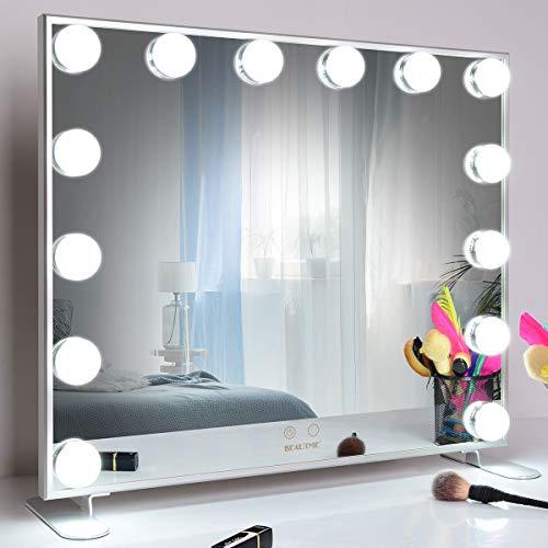 WONSTART Hollywood Espejo Maquillaje con luz,Espejo de Maquillaje montado Mesa/en la Pared con 14 Piezas de iluminación Ajustable con Bombillas led (Plateado)