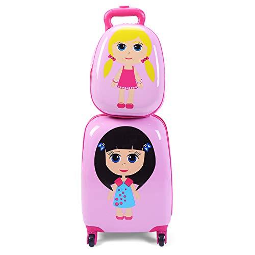 DREAMADE DREAMADE Kinderkoffer-Set Kiderkoffer mit Rucksack, Kindertrolley Kindergepäck, Handgepäck Reisegepäck Hartschalenkoffer für Kinder (Mädchen)