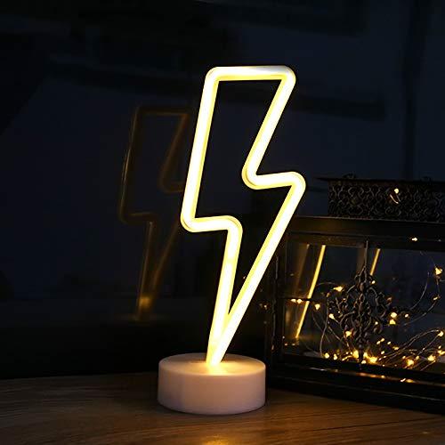 Luz Letrero de Neón Relámpago, ZVO Lightning LED Neon Signs, Lámparas Nocturna Decorativa De Neón Interior con Batería O USB, Iluminación de Decoración para Dormitorio Fiesta Cumpleaños Navidad