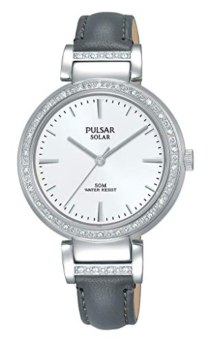 Pulsar Damen Analog Solar Uhr mit Leder Armband PY5051X1