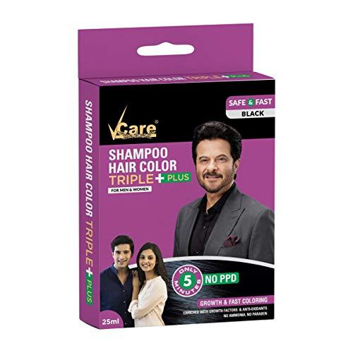 VCare Shampoo Hair Color, Black, 25 ml, (Pack Of 5)