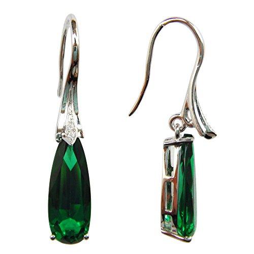 Navachi - Pendenti a forma di goccia, in argento sterling 925 e placcati in oro bianco 18 ct, con smeraldo sintetico 5,5 ct e Placcato oro, colore: Green, cod. SIL-9739-1