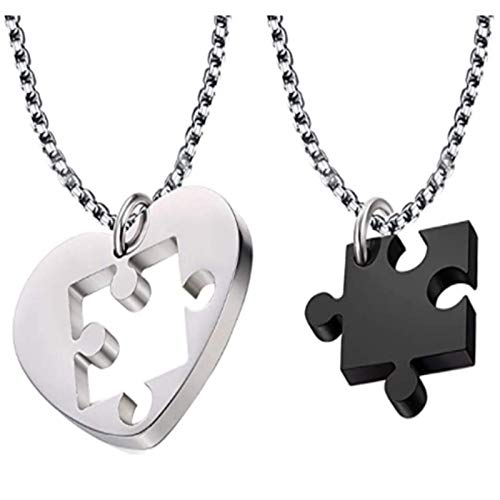 XinLuMing Par de Collares, 2 unids en Forma de corazón Rompecabezas Colgante Collar 50 cm Cadena de Acero de Titanio Pareja corazón Colgante Colgante de Rompecabezas Conjunto para Pareja/Amigo Collar