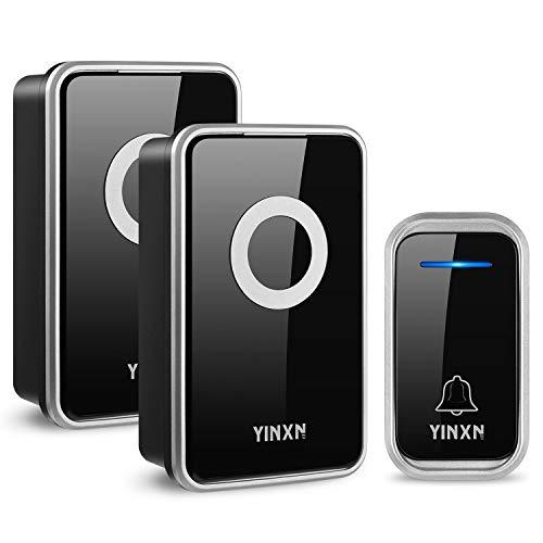Draadloze deurbel, PYBBO IP55 Waterdichte luide deurbel met 1000FT bereik deur Chime Kit, LED flitslicht met 3-Level Volume, 38 Chimes, 2 Plug in draadloze deurbel, zwart