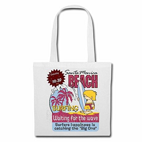 Tasche Umhängetasche Santa Monica Beach SURFEN Beach Surfbrett Longboard Wellenreiten Wellen ANFÄNGER Shop Einkaufstasche Schulbeutel Turnbeutel in Weiß