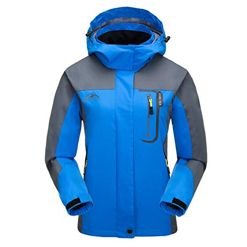 7VSTOHS Vestes légères Softshell pour Femmes Imperméable Respirant imperméable Coupe-Vent Vestes d'extérieur à Capuchon Coupe-Vent pour la randonnée Courir Le Cyclisme Trekking,L,Bleu