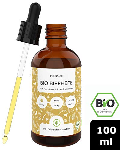 Bio Bierhefe für Hunde und Katzen, Natürliche Haut- und Fellpflege mit B-Vitaminen, Aus kontrolliert biologischem Anbau, DE-ÖKO-60, 100ml Tropfflasche