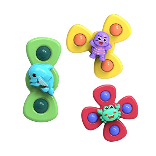 hgni 3 unids Linda Ventosa Spinning Top Juguete Animal spin spinder Spinning Top Spinner bebé Juguete chupador rotación temprano Juguetes educativos de Dibujos Animados chupador de