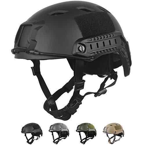 LOOGU Taktischer Helm Fast BJ Airsoft Helm Ops Core Schutzhelm mit Pads und seitlichen Schienen Sturzhelm für Freizeit Outdoor Paintball Kampfhelm Gefechtshelm Top Helm