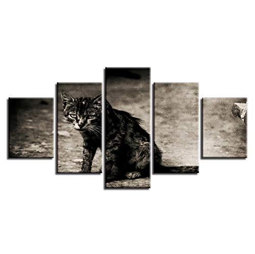 lglays Lienzo de pintura de pared ilustraciones decoración del hogar 5 piezas búho animal cartel HD impreso modular ures para sala de estar marco - 20x35cmx2,20x45cmx2,20x55cmx1