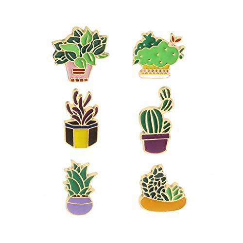 6pcs nette Broschen Emaille-Kaktus-Blume Gras Aloe Vera Topfpflanze Abzeichen Buttons Werkzeuge für Mädchen Jungen, Schönheits-Werkzeug