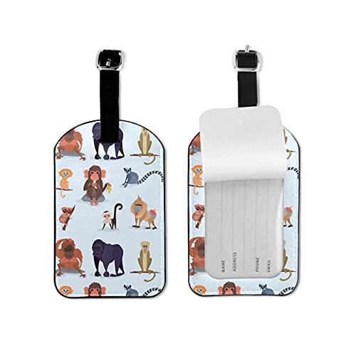 BVlleorueoi Etiquetas de equipaje de cuero para maletas con tarjeta de identificación de nombre para viajes dibujos animados mono equipaje etiquetas para hombres y mujeres