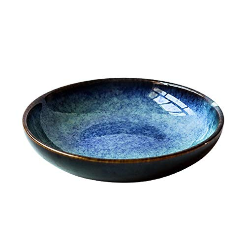 ZYLE Fruit Plate Ceramic Soup Plate Shallow Plate Shallow Basin Round Vegetable Plate Dessert Plate Fruit Plate Salad Plate (Color : B)