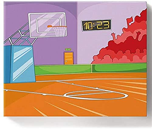 16x20 Inch Framed Adults' Paint-by-Number Kits DIY Paint Kits for Adults,Adults Beginner with Brushes,Acrylic Pigment,Basketball Court Cartoon Colorful Playing Field