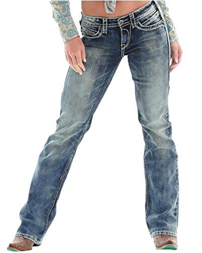Mujer Pantalones Vaquero Ocio Suelto Pantalones Elástico Jeans Cintur