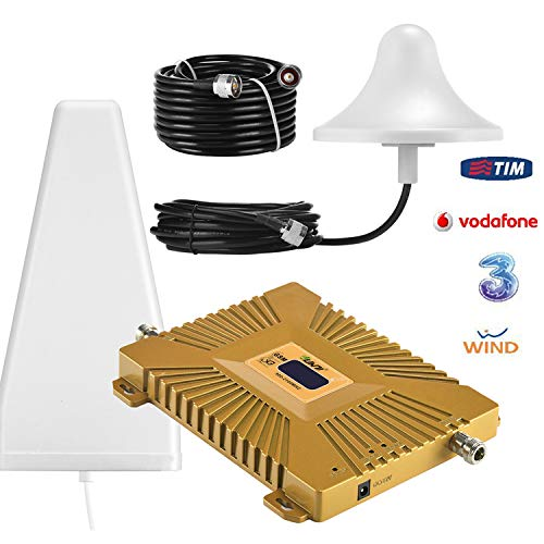 Yuanj Amplificatore Segnale Cellulare Doppia Banda Ripetitore gsm 900/2100MHz WCDMA 3G Amplificatore per Cellulare con Antenne & All'aperto Cavo 50 Ft (Giallo)