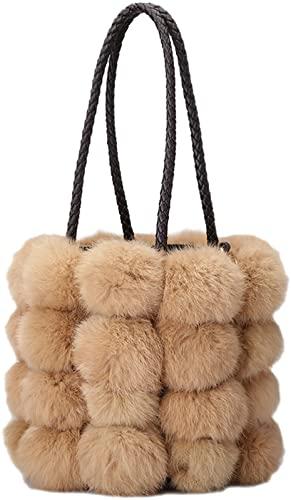 QZUnique Faux Fur Bucket Handbag Women's Drawstring Fur Crossbody Bag Shoulder Tote Bag